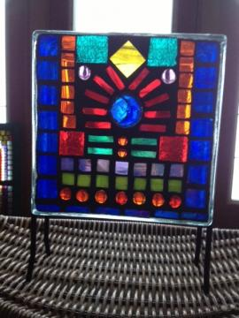 Stained glass mosaic using glass blocks
