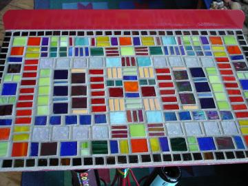Stained Glass Mosaic detail / top of table made from music stand