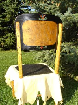 Back view of  History of the Ojibwa Chair