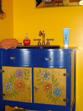 Painted, woodburned, cabinet  for the Mexican sink!